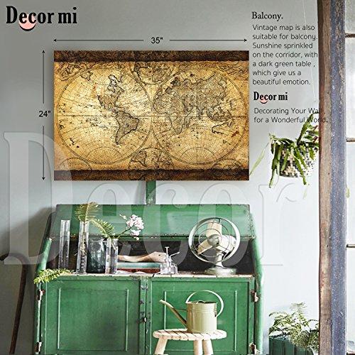 Kitchen Art Lebanon: Decor MI Vintage World Map Canvas Wall Art Retro Map Of