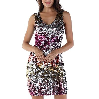 Zarupeng ♥♥♥♥ Señoras Cuello en v Hombro sin Mangas Lentejuelas Bling Chaleco Vestido Mini Vestido de Fiesta de Noche Falda: Ropa y accesorios