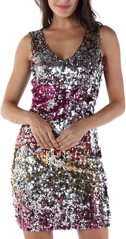 Kstare Womens V-Neck Sleeveless Floral Pencil Off Shoulder Sequins Dress Detail Cocktail Club Party Mini Dress