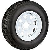 """2-Pack Trailer Tires On White Rims ST205/75D15 Load C (5 Lug On 5"""") 15 x 5 Wheel"""