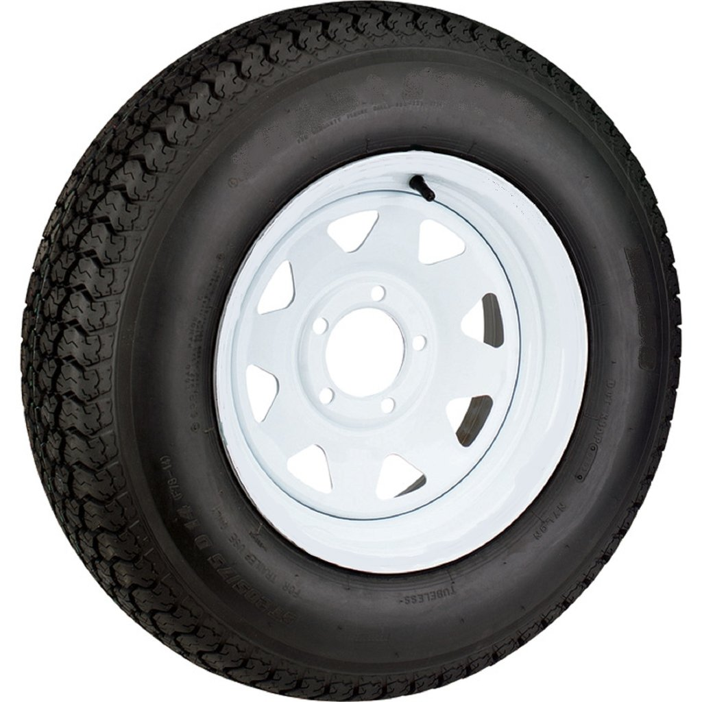 Wheels Express Inc 14 White Spoke Trailer Wheel with Radial ST215/75R14 Tire Mounted (5x4.5) bolt circle 14545ws215r
