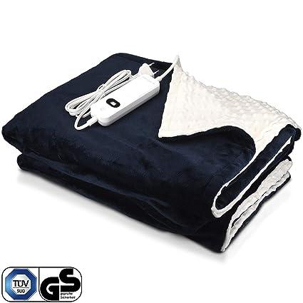 Navaris manta eléctrica XXL - Colcha 180x130CM con termostato - Manta térmica con regulador 3 niveles - Lavable en lavadora- azul y blanca