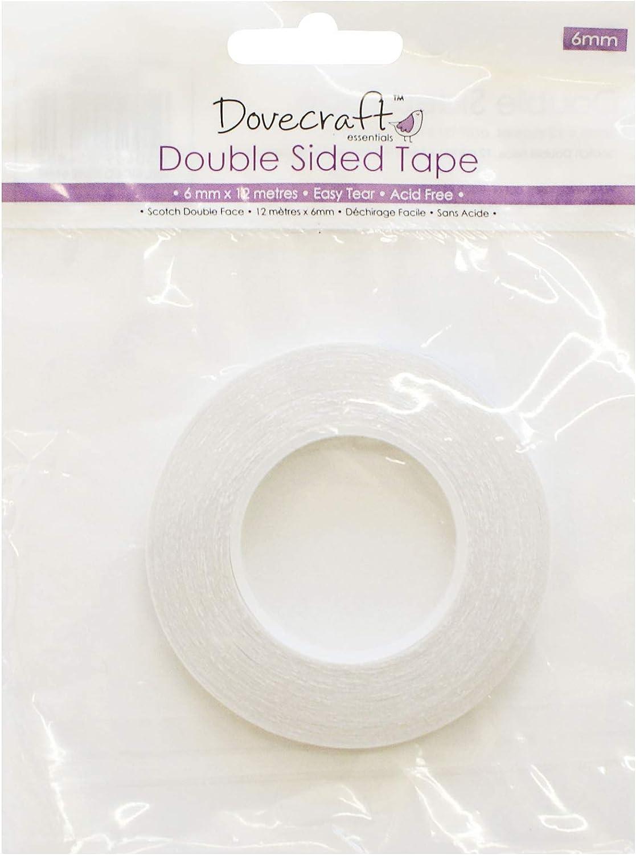 adh/ésif Dovecraft DCBS04 Double Sided Tape 6mm Blanc 14,6 x 11,8 x 0,7 cm