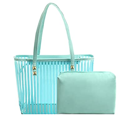 e8fb3d3f10 Abuyall 2 in 1 Semi Clear Beach Tote Bags Large Work Shoulder Bag with  Interior Pouch