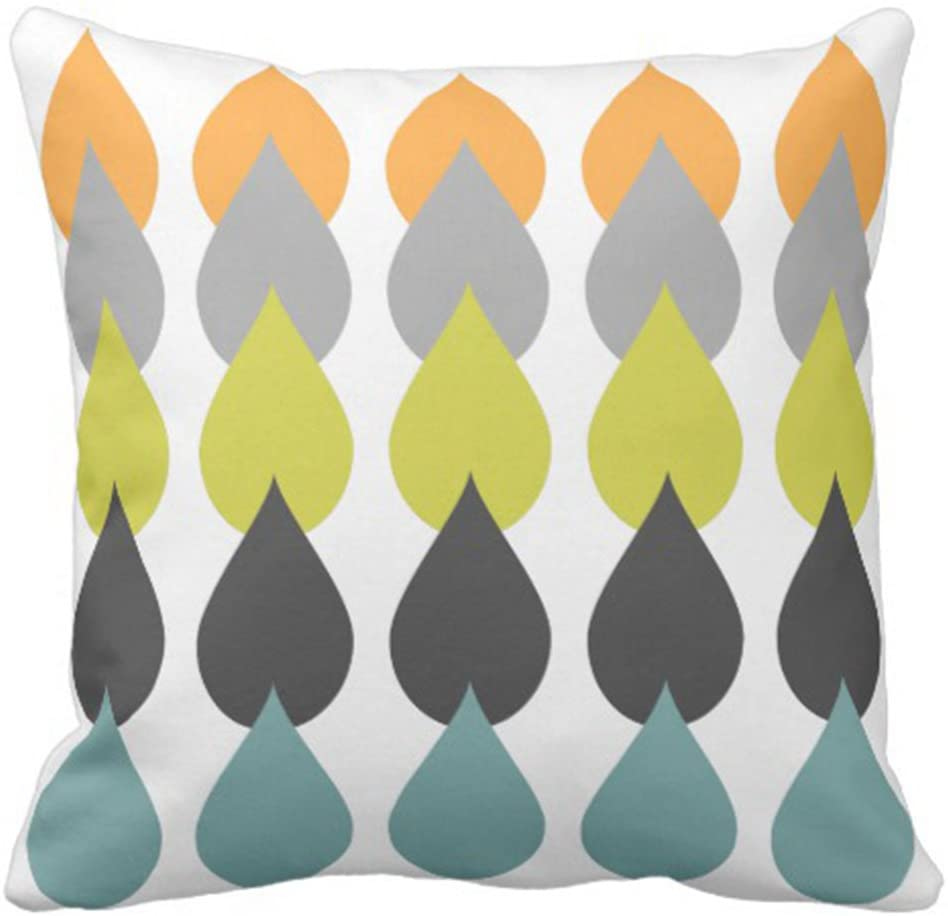 Emvency Throw Pillow Cover Green Grey Retro Orange Chartreuse Yellow Gray Mid Decorative Pillow Case Home Decor Square 18 x 18 Inch Pillowcase