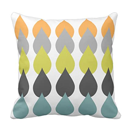 Amazon Emvency Throw Pillow Cover Green Grey Retro Orange Mesmerizing Gray And Orange Decorative Pillows