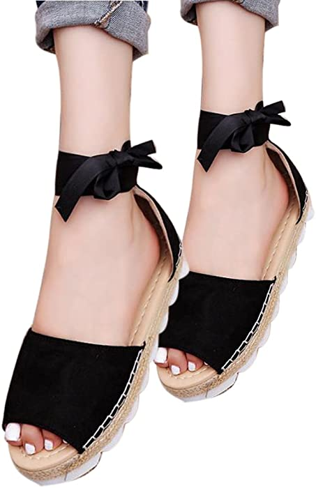 3857fb2b4e2 Amazon.com  YING LAN Women s Bandage Flip-Flop Sandal Flats Ankle Wrap  Espadrille Flat Sandals Black  Clothing
