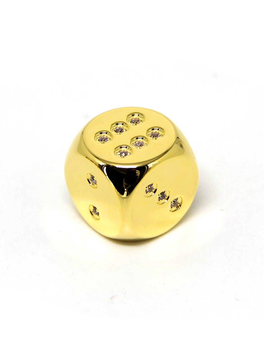 Callancity 5pcs handwork rhinestone diamonds encrusted 24kt real gold plated game custom dice