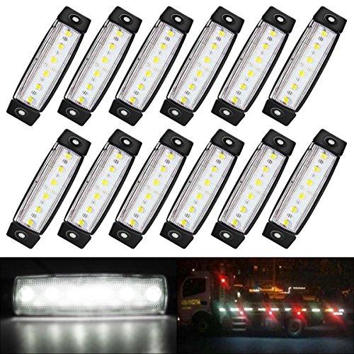 AMBOTHER 12 x LED Blinker Seitenblinker Seitenmarkierungsleuchten Side Marker Seite vorne Outline Clearance Light Indicator Lamp für Truck Trailer Camper Lorry van 12V 24V Weiß