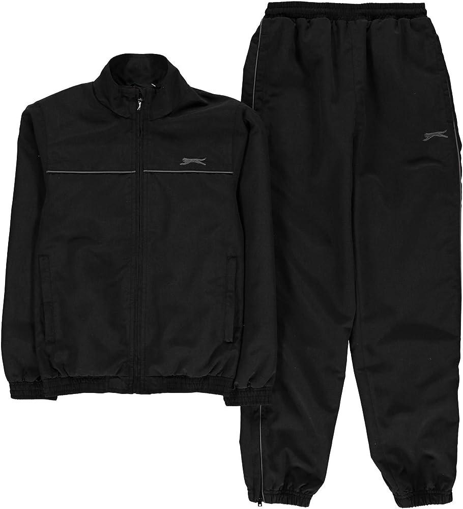 Slazenger Niños Chándal para niño manga larga chaqueta de entrenamiento entrenamiento pantalones Set, Niños, color negro, tamaño Medium: Amazon.es: Ropa y accesorios