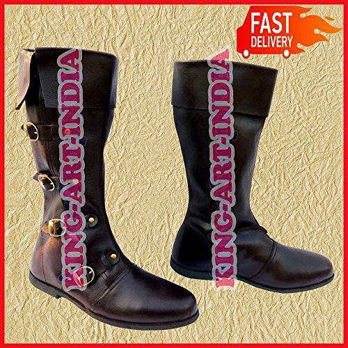 Stivali NASIR calzature lunga ALI scarpa Renaissance Medieval marrone Viking uomo pelle scarpe in qfTcS5wxCT