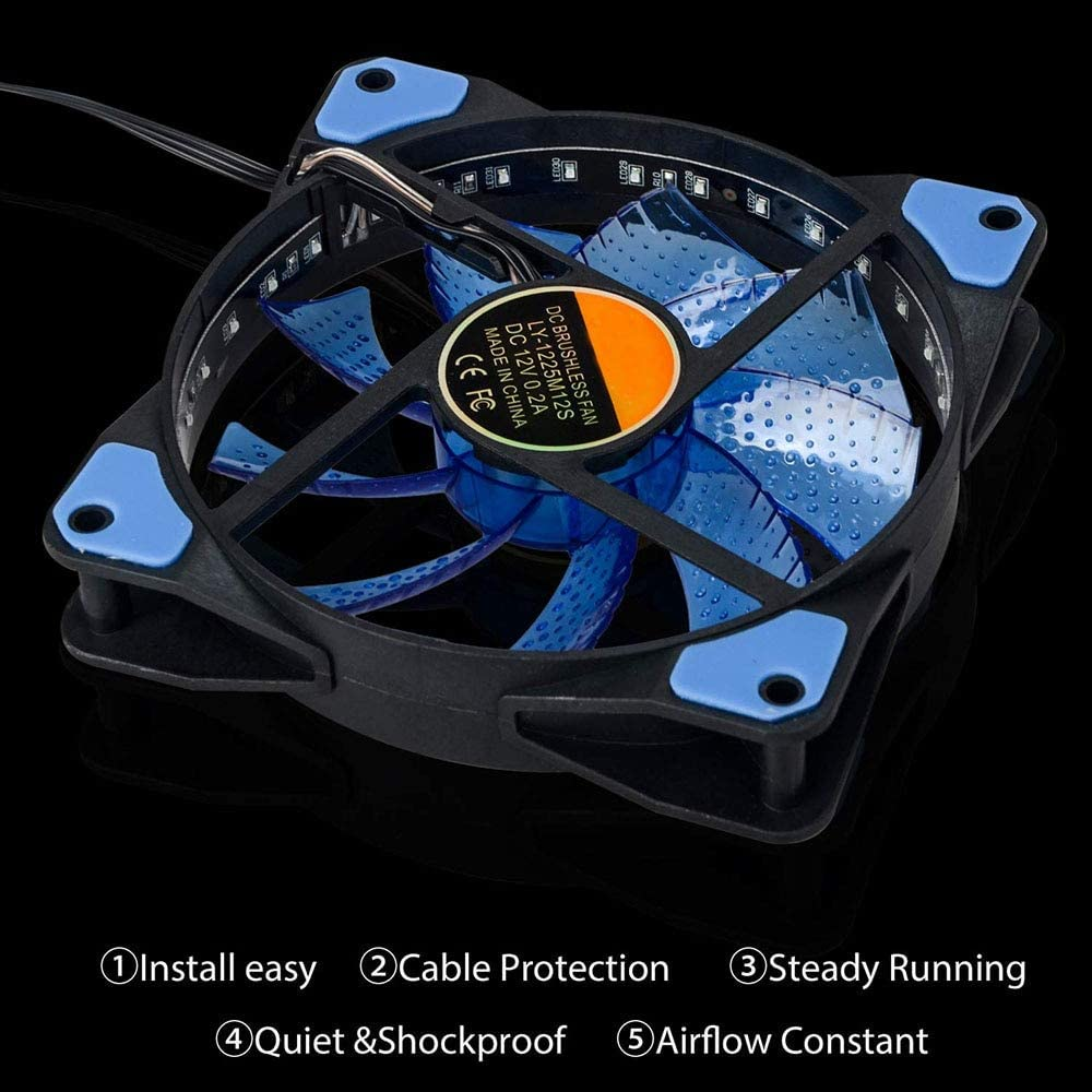 V2AMZ 1Pcs PC Computer Case Fan 120mm 33 LED Silent Fan Heatsink Cooling For Computer Cases CPU Coolers And Radiators Ultra Quiet