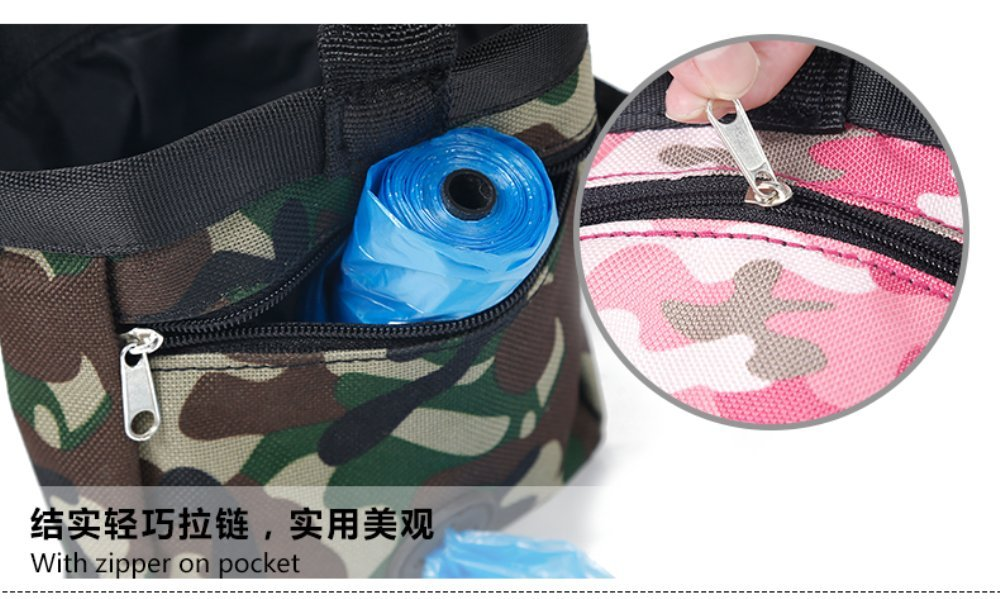 Dog Treating Pouch for Treating, Poop Bag Dispenser, Treats and Toys Camouflage Sports Pet Pouch Bag (P30007-PK)