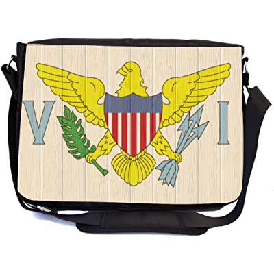 Rikki Knight Virgin Islands Flag on Distressed Wood Design Multifunctional Messenger Bag - School Bag - Laptop Bag - with padded insert for School or Work - Includes Matching Compact Mirror