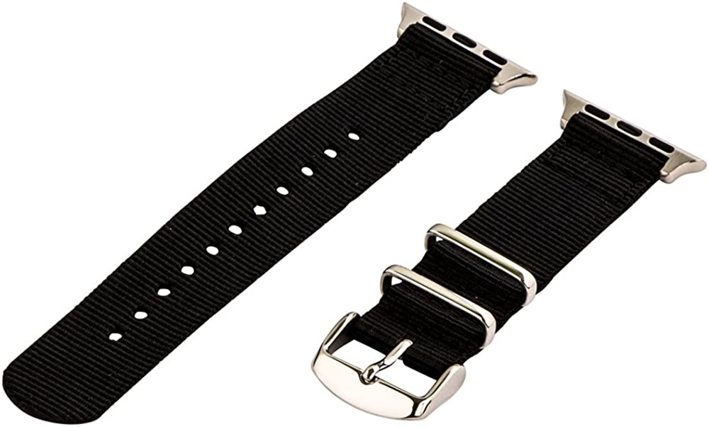 Clockwork Synergy - 2 Piece Classic NATO Band (SS) Compatible for 42mm Apple Watch Series
