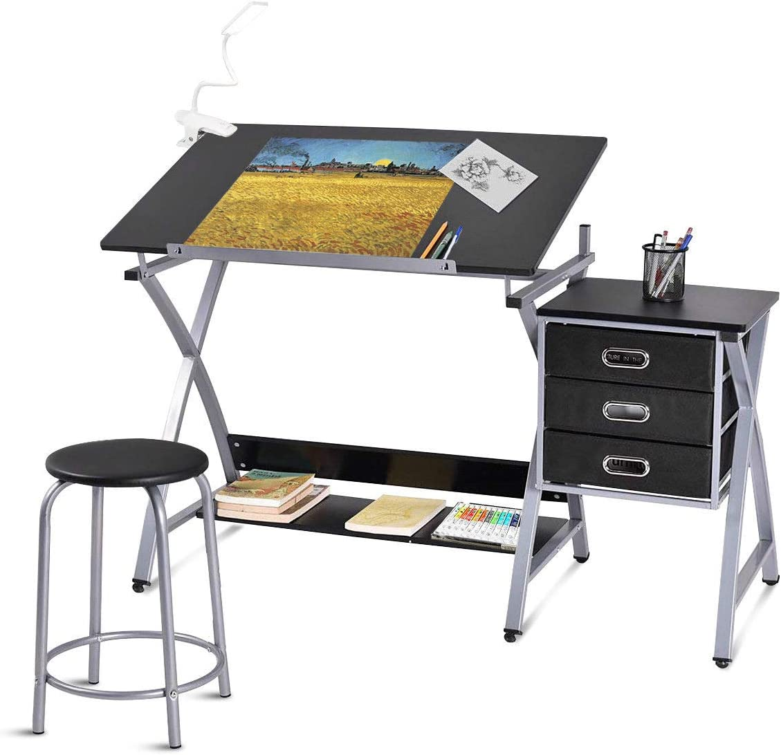Tangkula Drafting Table Art Craft Drawing Desk Art Hobby Folding Adjustable w Stool Black