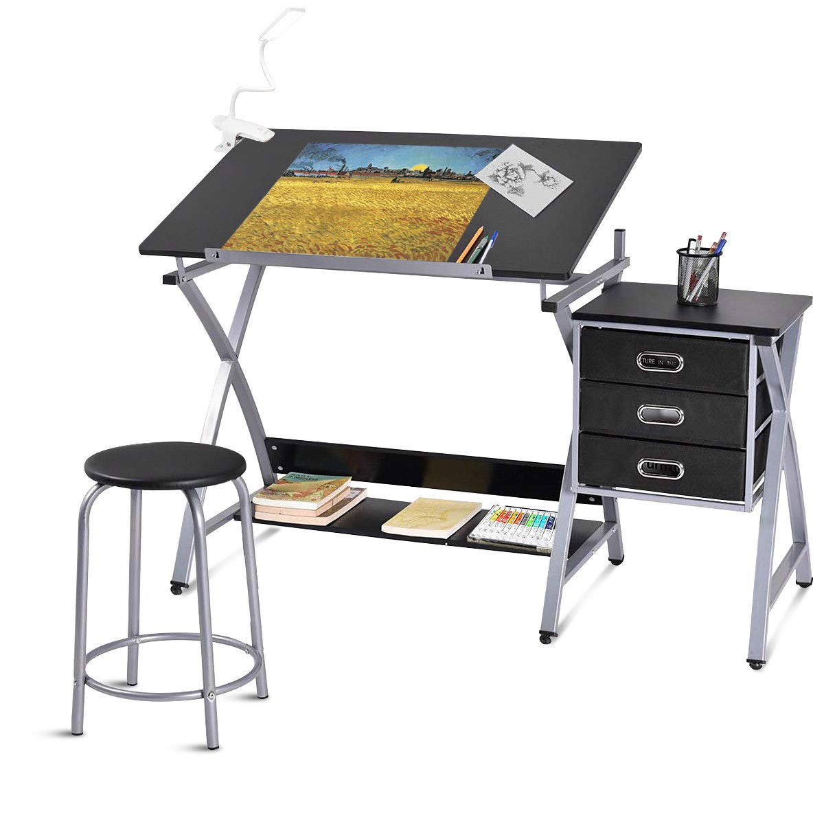 Tangkula Drafting Table Art & Craft Drawing Desk Art Hobby Folding Adjustable w/Stool (Black) by Tangkula