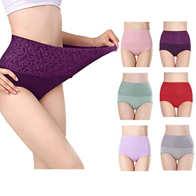 2ba43479ae435 Fulyou Women s Briefs Underwear Tummy Control Cotton Panties High ...