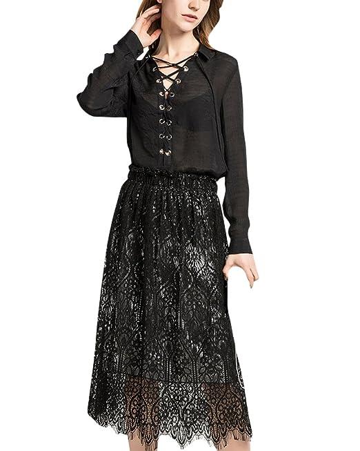 buy popular f3240 e11c9 Kasen Donna Elegante Gonna di Pizzo Gonne Vita Alta Lunghe ...