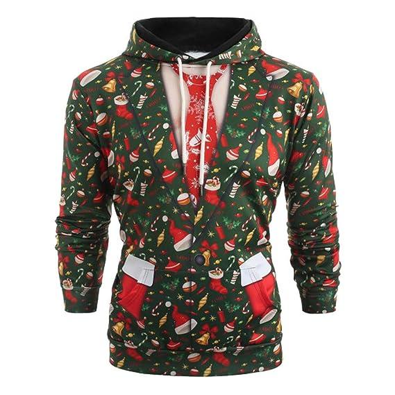 Longzjhd Männer Lustig Weihnachten 3D Drucken Mit Kapuze Lange Ärmel Tasche Pullover Drucken Hässlich Hemd Weihnachtspullover Sweatshirt Christmas