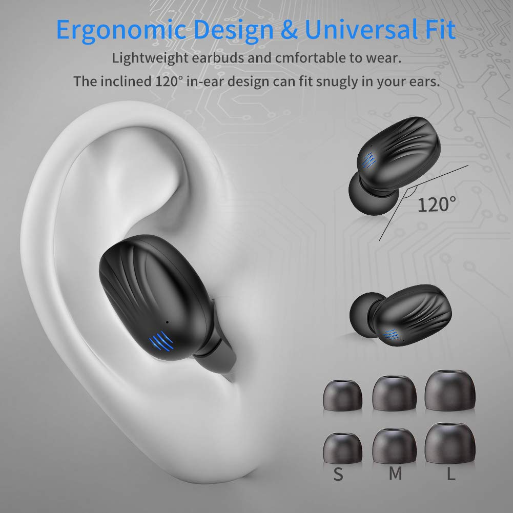 Wireless Earbuds, TWS Bluetooth 5.0 Wireless Headphones Auto Pairing【Wireless Charging Case】 IPX7 Waterproof Bluetooth Earbuds Built-in Mic 3D in-Ear Earbuds with Deep Bass Stereo for Running Sport by CTLYF (Image #5)