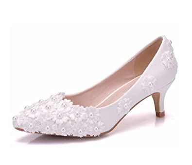 d1b3a111295 Image Unavailable. Image not available for. Color  Minishion Women s Kitten  Heel Lace Flower Studded Ivory Satin Bridal Wedding Pumps ...