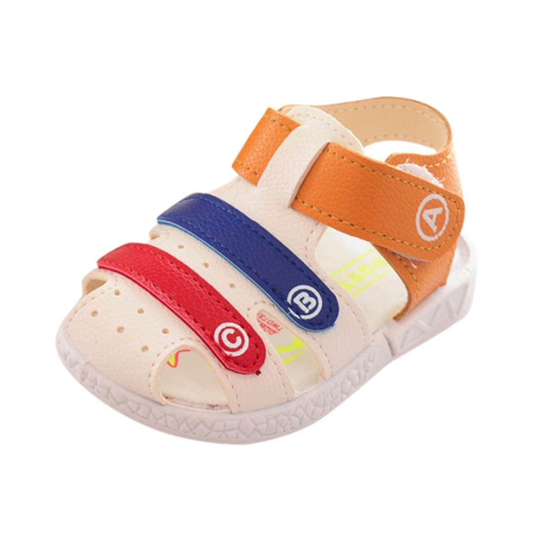 IGEMY Kids Summer Shoes,Toddler Baby Boys Roman Anti-slip Shoes Soft Sole Beach Letter Striped Sneaker Boys Sandals
