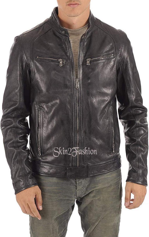 Mens Leather Jackets Motorcycle Bomber Biker Genuine Lambskin 452