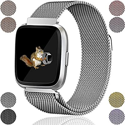 Wepro Fitbit Versa Bands Replacement for Women Men Small Large, Milanese Loop Stainless Steel Metal Bracelet Strap with Unique Magnet Lock Accessories Wristbands for Fitbit Versa Smart Watch