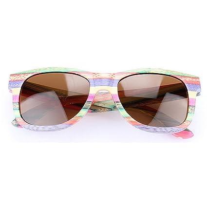 Lentes planos espejados Rayas de color marco de bambú hecho a mano gafas de sol polarizadas