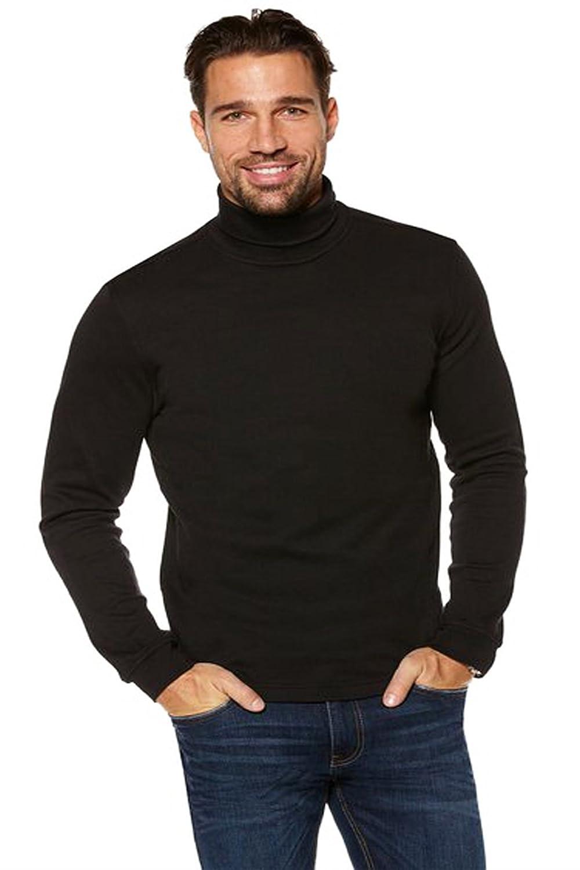ELEGANCE123 Men's Black Roll Neck Soft Quality Cotton Long-sleeve Tops