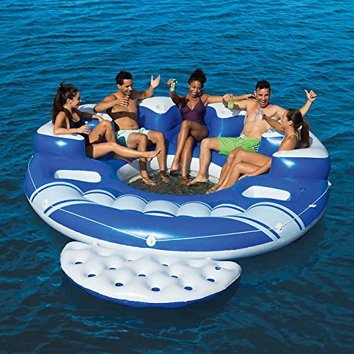 Bestway Blue Caribbean 6-Person Floating Island,With Removable Swim-up Platform,Anchor Bag,Repair Patch,6 Built-in Cup Holders & 2 Built-in Ice ()
