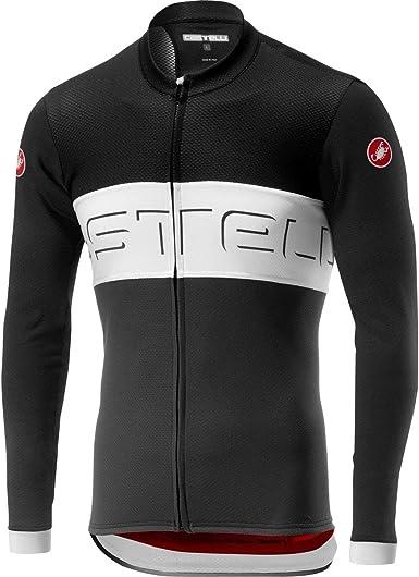 Castelli Mens Winter Prologo VI Long Sleeve FZ Cycling Jersey - Soft, Stretchy Castelli Logo Racing Jerse