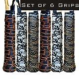 Alien Pros Tennis Racket Grip Tape (6 Grips) - Tac Moisture Feel Tennis Grip - Tennis Overgrip Grip Tape Tennis Racket - Wrap Your Racquet for High Performance (6 Grips, Black Power)
