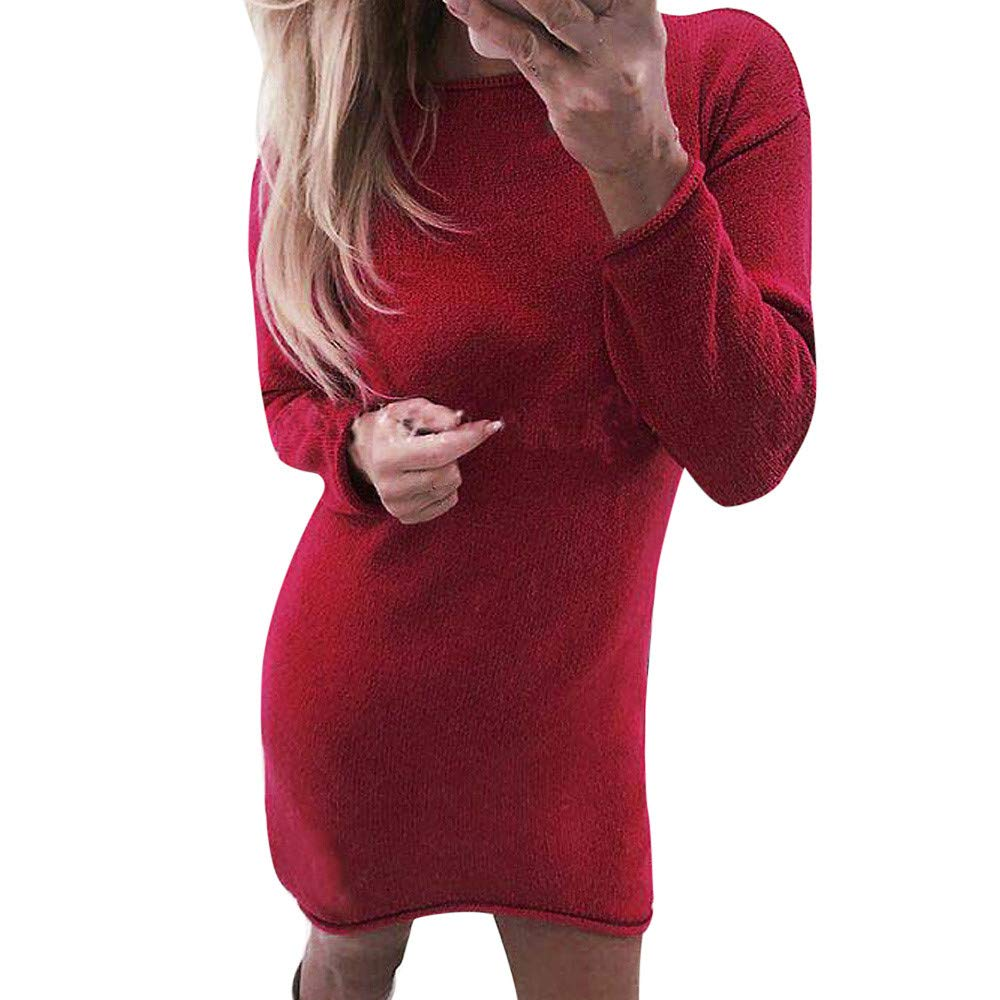 Womens Dresses Liraly New Fashion Solid O-Neck Sweater Long Casual Long Sleeve Pullove Dress