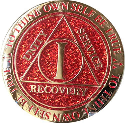 1 Year AA Medallion Reflex Red Glitter Gold Plated Color -