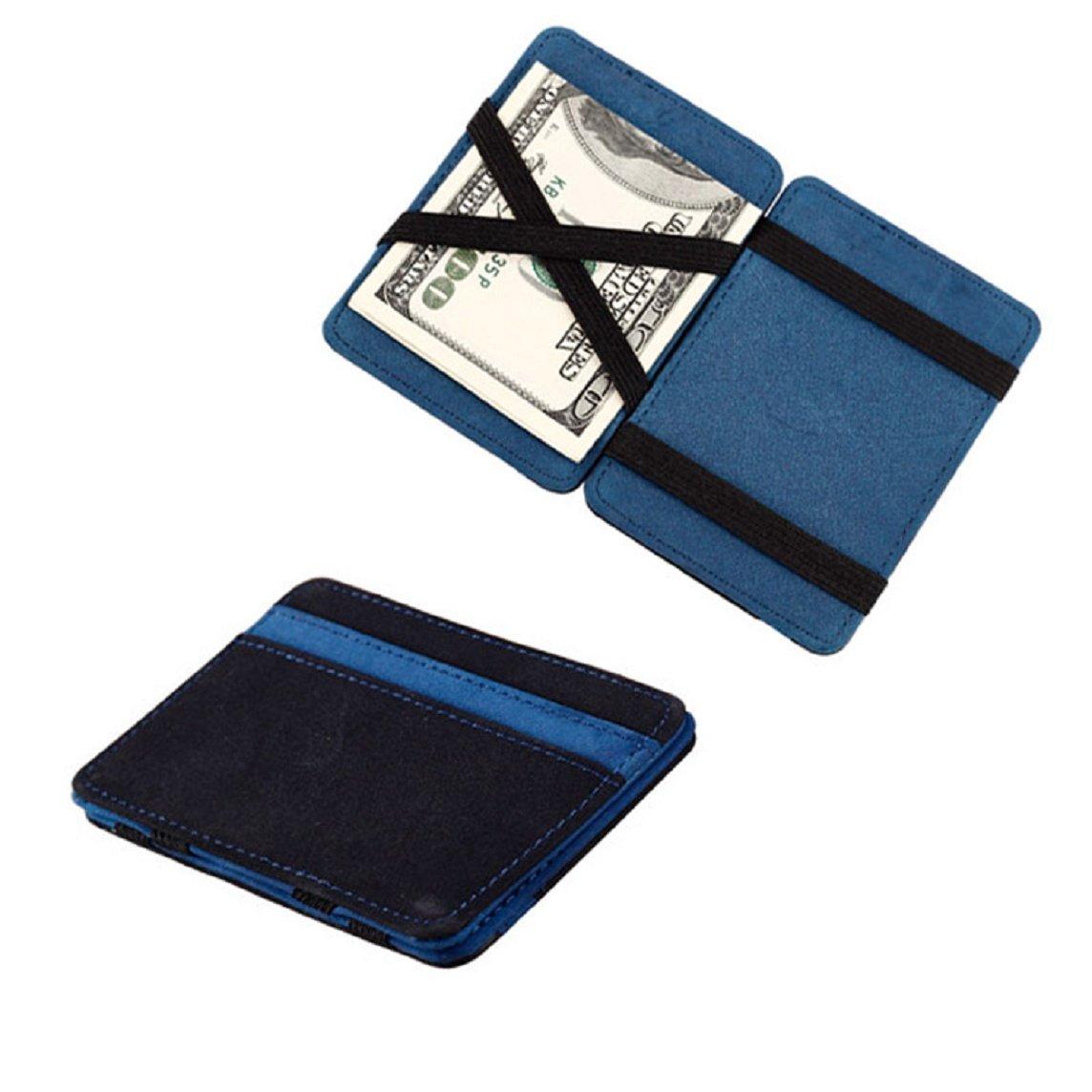 Wallet; Purse;Wallet Purse-Bessky® Mini Neutral Grind Magic Bifold Leather Wallet Card Holder Wallet Purse (Blue)