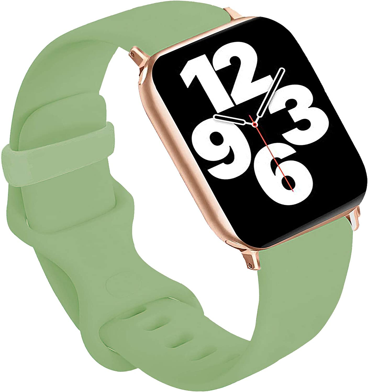 Idon Sport Watch Band, Soft Silicone Replacement Sports Bands Compatible with Watch SeriesSE/Series6/5/4/3/2/1 38MM 40MM for Watch All Models (Mint,38MM M/L)