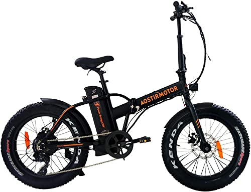 aostirmotor Folding Electric Bike, 20 inch Fat Tire Electric Bicycle with 500W Motor 36V 13AH Removable Lithium Battery,ebike for Adults Black