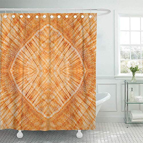 Shower Curtain Waterproof Decorative Bathroom 72 x 72 inches Brown Abstract Stone Marble Colorful Agate Architecture Banded Bands Bathroom Polyester Fabric Set with Hooks