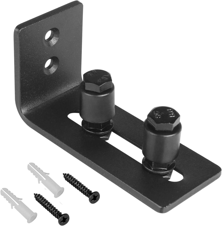 Color: Black TOP 1Pcs Simple Design Wall Mounted Sliding Barn Door Bottom Floor Guide with Adjustable Bracket Black