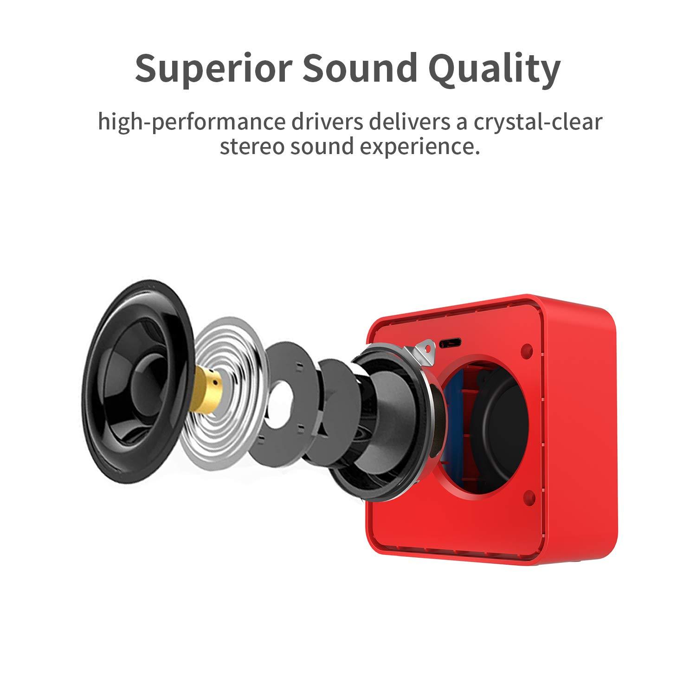 W-KING Bluetooth Lautsprecher, Wireless Tragbarer Bluetooth Lautsprecher mit 10-Stunden Spielzeit und eingebautem Mikrofon, Wireless Speaker mit reinem Bass, geeignet für iPhone, Samsung usw (Rot)