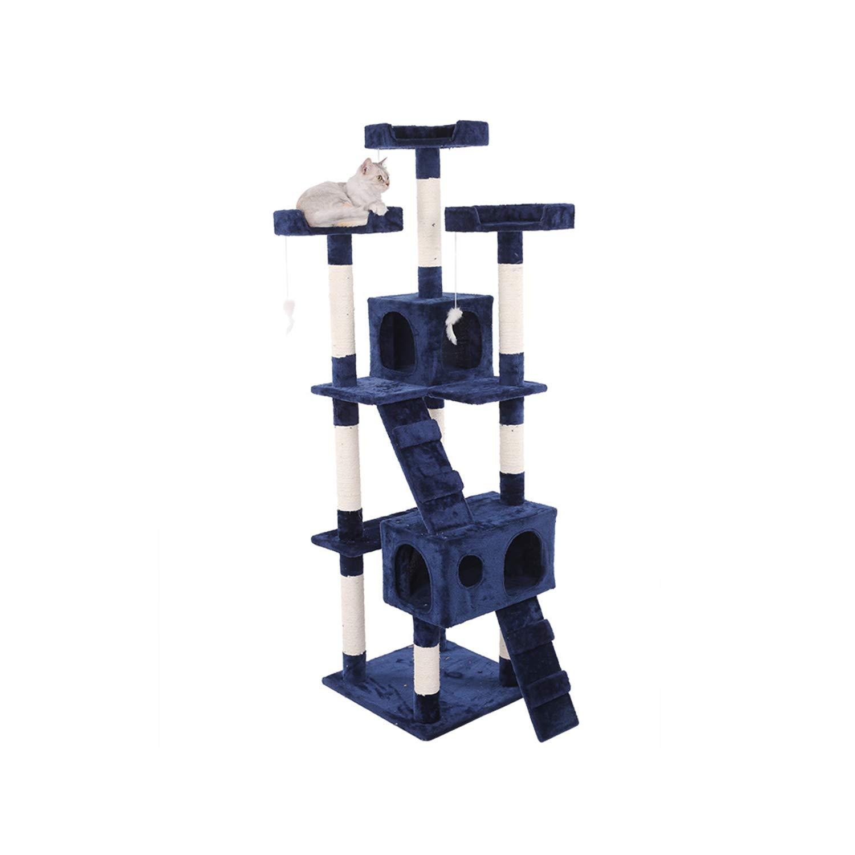 bluee 50cm60cm173cm bluee 50cm60cm173cm Better Cat Tree, Large Cat Climbing Frame with Cat House and Observation Deck Cat Tower Activity Center SL-028 (color   bluee, Size   50cm60cm173cm)