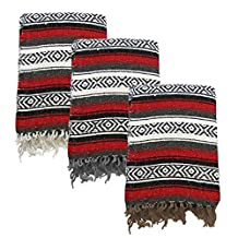 Yogavni Yogavni-Mex-Blanket-Red Deluxe Extra Thick and Soft Mexican Yoga Blanket in Traditional Stripes and Vibrant Colors, Red