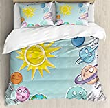 Space Duvet Cover Set by Ambesonne, Cute Cartoon Sun and Planets of Solar System Fun Celestial Chart Baby Kids Nursery Theme, 3 Piece Bedding Set with Pillow Shams, Queen / Full, Multi