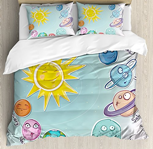 Space Duvet Cover Set by Ambesonne, Cute Cartoon Sun and Planets of Solar System Fun Celestial Chart Baby Kids Nursery Theme, 3 Piece Bedding Set with Pillow Shams, Queen / Full, Multi by Ambesonne