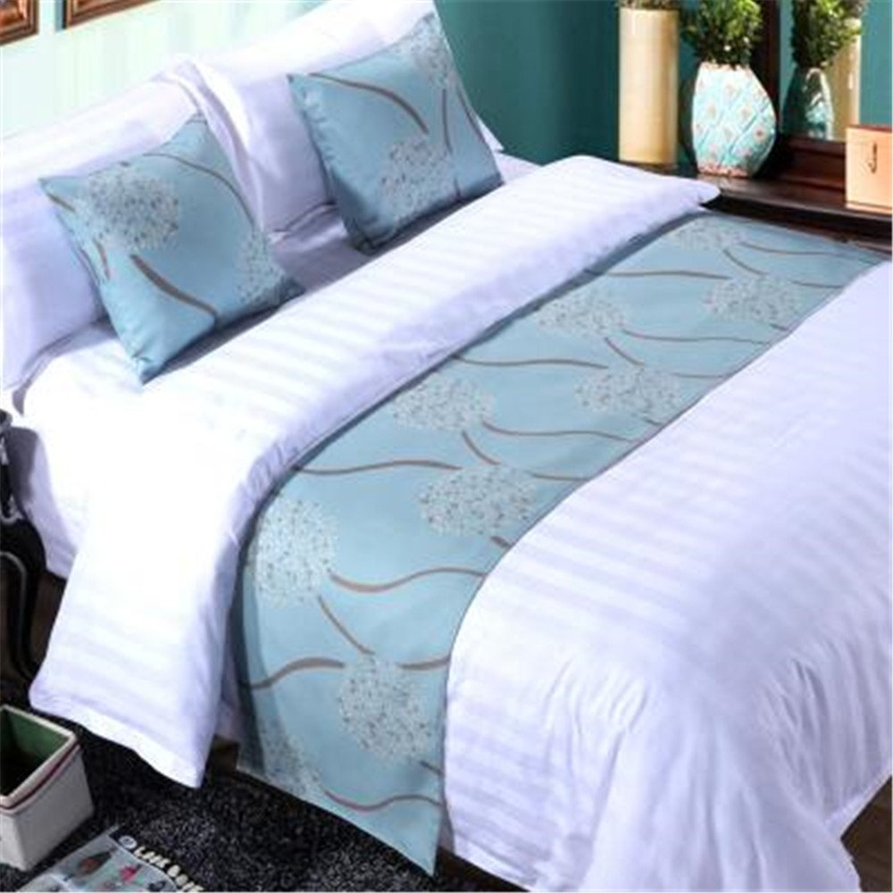 YIH Set of 1 Bed Runner and 2 Cushion Covers Teal, Bedroom Scarf Country Style Bedding Decor For Hotel Guesthouse, 94 Inches By 19 Inches