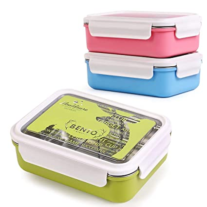 834ea2e13028 HOMESPON Lunch Box Stainless Steel Bento Box Insulated Lunch Container 3  Compartments Food Storage Container Leak-Proof Lunch Boxes with Removable  ...