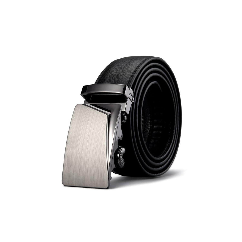 LYZGF Hombres Jóvenes Cinturón De Piel De Vaca Negocios Ocio Elegante Moda Hebilla Automática Negro