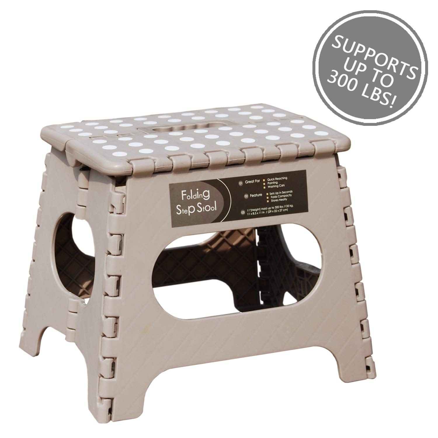 """Folding Step Stool - 11"""" Height - Holds up 300 Lbs Lightweight Foldable Stepping Stool is Sturdy Enough to Support Adults & Safe Enough for Kids. Skid Resistant and Open with one flip (Light Tan)"""